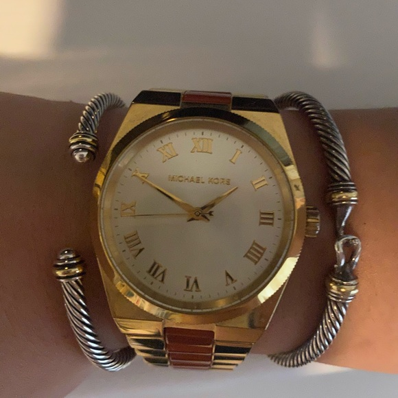 Michael Kors Gold Watch with Orange Accents